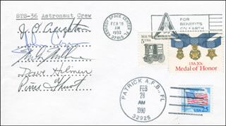 SPACE SHUTTLE ATLANTIS - STS - 36 CREW - COMMEMORATIVE ENVELOPE SIGNED CO-SIGNED BY: COLONEL JOHN H. CASPER, CAPTAIN JOHN O. CREIGHTON, COLONEL RICHARD MIKE MULLANE, COLONEL DAVID C. HILMERS, COMMANDER PIERRE J. THUOT