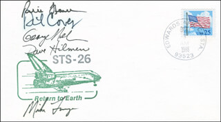 SPACE SHUTTLE DISCOVERY - STS - 26 CREW - COMMEMORATIVE ENVELOPE SIGNED CO-SIGNED BY: COLONEL RICHARD DICK COVEY, MIKE (JOHN M.) LOUNGE, COLONEL DAVID C. HILMERS, GEORGE D. NELSON, CAPTAIN FREDERICK RICK HAUCK