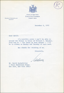 Autographs: VICE PRESIDENT NELSON A. ROCKEFELLER - TYPED LETTER SIGNED 12/06/1972