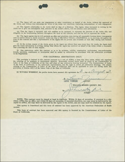 LANA TURNER - CONTRACT SIGNED 08/31/1943