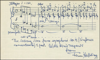 FINN HOFFDING - AUTOGRAPH MUSICAL QUOTATION SIGNED