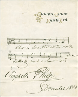 ELIZABETH PHILIP - AUTOGRAPH MUSICAL QUOTATION SIGNED 12/1880