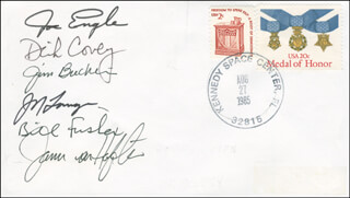 SPACE SHUTTLE DISCOVERY - STS - 51-I CREW - COMMEMORATIVE ENVELOPE SIGNED CO-SIGNED BY: COLONEL JAMES F. BUCHLI, COLONEL RICHARD DICK COVEY, MIKE (JOHN M.) LOUNGE, WILLIAM FISHER, MAJOR GENERAL JOE ENGLE, JAMES D. A. VAN HOFTEN