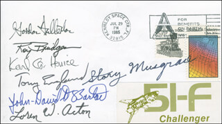 SPACE SHUTTLE CHALLENGER - STS - 51F CREW - COMMEMORATIVE ENVELOPE SIGNED CO-SIGNED BY: JOHN-DAVID F. BARTOE, ANTHONY ENGLAND, STORY MUSGRAVE, MAJOR GENERAL ROY D. BRIDGES JR., LOREN ACTON, KARL G. HENIZE, COLONEL C. GORDON FULLERTON