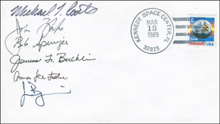SPACE SHUTTLE DISCOVERY - STS - 29 CREW - COMMEMORATIVE ENVELOPE SIGNED CO-SIGNED BY: COLONEL JAMES F. BUCHLI, COLONEL JOHN E. BLAHA, JAMES P. BAGIAN, COLONEL ROBERT C. SPRINGER, CAPTAIN MICHAEL L. COATS, ANNA LEE FISHER
