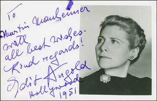 EDIT ANGOLD - AUTOGRAPH NOTE ON PHOTOGRAPH SIGNED 1951