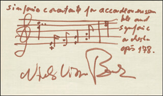 NIELS VIGGO BENTZON - MUSICAL QUOTATION SIGNED