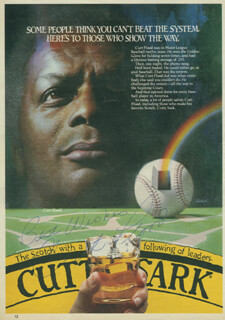 CURT FLOOD - ADVERTISEMENT SIGNED