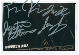 MOMENTS IN GRACE - AUTOGRAPHED SIGNED PHOTOGRAPH CO-SIGNED BY: MOMENTS IN GRACE (TOMOTHY KIRKPATRICK), MOMENTS IN GRACE (JUSTIN ETHERIDGE), MOMENTS IN GRACE (JAMES GLAYAT)