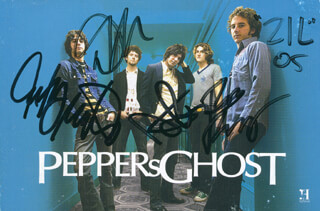 PEPPER'S GHOST - AUTOGRAPHED SIGNED PHOTOGRAPH 2005 CO-SIGNED BY: PEPEER'S GHOST (ZIL ), PEPPER'S GHOST (ROB BENNETT), PEPPER'S GHOST (DAVID HARTLEY), PEPPER'S GHOST (ANTHONY MONTESANO), PEPPER'S GHOST (MICHAEL MONTESANO)