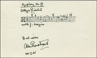 ALAN RAWSTHORNE - AUTOGRAPH MUSICAL QUOTATION SIGNED 01/28/1965