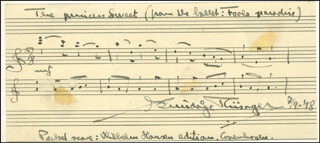 KNUDAGE RIISAGER - AUTOGRAPH MUSICAL QUOTATION SIGNED 07/19/1948