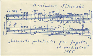 KAZIMIERZ SIKORSKI - AUTOGRAPH MUSICAL QUOTATION SIGNED