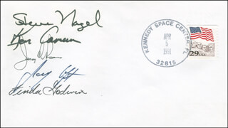 SPACE SHUTTLE ATLANTIS - STS - 37 CREW - COMMEMORATIVE ENVELOPE SIGNED CO-SIGNED BY: COLONEL JERRY L. ROSS, COLONEL KENNETH D. CAMERON, COLONEL STEVE NAGEL, LINDA GODWIN, JAY APT