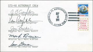 SPACE SHUTTLE DISCOVERY - STS - 48 CREW - COMMEMORATIVE ENVELOPE SIGNED CO-SIGNED BY: COLONEL JAMES F. BUCHLI, COLONEL MARK N. BROWN, CAPTAIN JOHN O. CREIGHTON, LT. COLONEL CHARLES D. SAM GEMAR, CAPTAIN KENNETH REIGHTLER