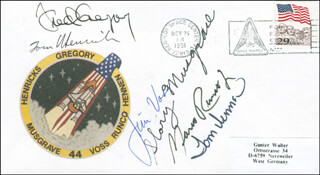 SPACE SHUTTLE ATLANTIS - STS - 44 CREW - COMMEMORATIVE ENVELOPE SIGNED CO-SIGNED BY: COLONEL TERENCE TOM HENRICKS, COLONEL FREDERICK D. GREGORY, COLONEL JAMES S. VOSS, MARIO RUNCO, CHIEF WARRANT OFFICER THOMAS J. HENNEN