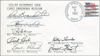 SPACE SHUTTLE ENDEAVOUR - STS - 49 CREW - COMMEMORATIVE ENVELOPE SIGNED CO-SIGNED BY: RICHARD HIEB, CAPTAIN DANIEL C. BRANDENSTEIN, KATHRYN THORNTON, COMMANDER BRUCE MELNICK, COMMANDER PIERRE J. THUOT, GENERAL KEVIN CHILLI CHILTON, COLONEL THOMAS AKERS