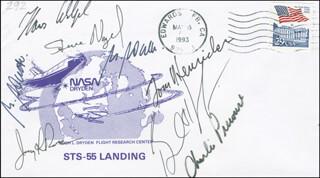 SPACE SHUTTLE COLUMBIA - STS - 55 CREW - COMMEMORATIVE ENVELOPE SIGNED CO-SIGNED BY: COLONEL JERRY L. ROSS, COLONEL TERENCE TOM HENRICKS, COLONEL STEVE NAGEL, ULRICH WALTER, BERNARD A. HARRIS JR., COLONEL CHARLES PRECOURT, HANS SCHLEGEL