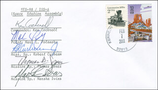 SPACE SHUTTLE ATLANTIS - STS - 98 CREW - COMMEMORATIVE ENVELOPE SIGNED CO-SIGNED BY: MARSHA IVINS, THOMAS D. JONES, KEN COCKRELL, MARK POLANSKY, CAPTAIN ROBERT CURBEAM