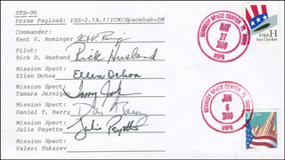 SPACE SHUTTLE DISCOVERY - STS - 96 CREW - COMMEMORATIVE ENVELOPE SIGNED CO-SIGNED BY: TAMARA TAMMY JERNIGAN, ELLEN OCHOA, CAPTAIN KENT V. ROMINGER, COLONEL RICK HUSBAND, DANIEL T. BARRY, JULIE PAYETTE