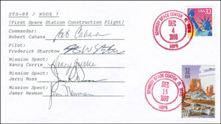 SPACE SHUTTLE ENDEAVOUR - STS - 88 CREW - COMMEMORATIVE ENVELOPE SIGNED CO-SIGNED BY: COLONEL JERRY L. ROSS, COLONEL ROBERT CABANA, COLONEL FREDERICK STURCKOW, COLONEL NANCY CURRIE, JAMES NEWMAN