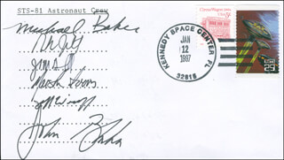 SPACE SHUTTLE ATLANTIS - STS - 81 CREW - COMMEMORATIVE ENVELOPE SIGNED CO-SIGNED BY: CAPTAIN MIKE BAKER, COLONEL JOHN E. BLAHA, MARSHA IVINS, CAPTAIN BRENT JETT, PETER J.K. JEFF WISOFF, JOHN GRUNSFELD