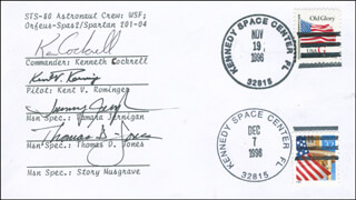 SPACE SHUTTLE COLUMBIA - STS - 80 CREW - COMMEMORATIVE ENVELOPE SIGNED CO-SIGNED BY: TAMARA TAMMY JERNIGAN, THOMAS D. JONES, CAPTAIN KENT V. ROMINGER, KEN COCKRELL