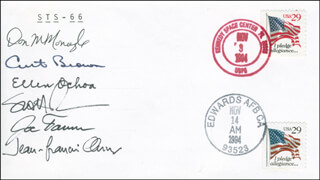 SPACE SHUTTLE ATLANTIS - STS - 66 CREW - COMMEMORATIVE ENVELOPE SIGNED CO-SIGNED BY: JEAN-FRANCOIS CLERVOY, ELLEN OCHOA, JOSEPH TANNER, SCOTT PARAZYNSKI, COLONEL DONALD MCMONAGLE, COLONEL CURTIS L. BROWN JR