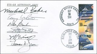 SPACE SHUTTLE ENDEAVOUR - STS - 68 CREW - COMMEMORATIVE ENVELOPE SIGNED CO-SIGNED BY: CAPTAIN MIKE BAKER, THOMAS D. JONES, CAPTAIN DANIEL W. BURSCH, STEVEN L. SMITH, PETER J.K. JEFF WISOFF, COLONEL TERRENCE WILCUTT