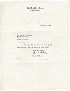Autographs: BROOKS ATKINSON - TYPED LETTER SIGNED 10/04/1956