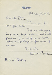 WILLIAM CORCORAN - AUTOGRAPH LETTER SIGNED 02/25/1936