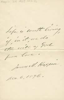 JAMES M. HOPPIN - AUTOGRAPH QUOTATION SIGNED 12/06/1896