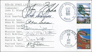 SPACE SHUTTLE COLUMBIA - STS - 58 CREW - COMMEMORATIVE ENVELOPE SIGNED CO-SIGNED BY: COLONEL JOHN E. BLAHA, MARGARET RHEA SEDDON, SHANNON W. LUCID, MARTY FETTMAN, COLONEL RICHARD A. SEARFOSS, BILL MCARTHUR, DAVID WOLF