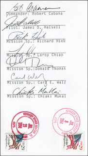 SPACE SHUTTLE COLUMBIA - STS - 65 CREW - COMMEMORATIVE ENVELOPE SIGNED CO-SIGNED BY: RICHARD HIEB, COLONEL CARL E. WALZ, COLONEL ROBERT CABANA, DONALD A. THOMAS, COLONEL JAMES HALSELL, LEROY CHIAO, CHIAKI MUKAI
