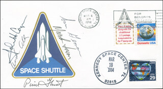 SPACE SHUTTLE COLUMBIA - STS - 62 CREW - COMMEMORATIVE ENVELOPE SIGNED CO-SIGNED BY: COLONEL JOHN H. CASPER, MARSHA IVINS, LT. COLONEL CHARLES D. SAM GEMAR, COMMANDER PIERRE J. THUOT, LT. COLONEL ANDREW M. ALLEN