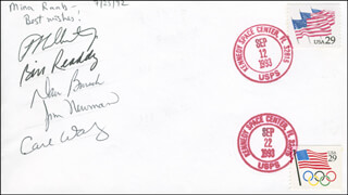 SPACE SHUTTLE DISCOVERY - STS - 51 CREW - COMMEMORATIVE ENVELOPE SIGNED 07/25/1992 CO-SIGNED BY: COLONEL CARL E. WALZ, CAPTAIN DANIEL W. BURSCH, WILLIAM BILL READDY, JAMES NEWMAN, FRANK CULBERTSON