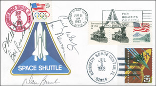 SPACE SHUTTLE DISCOVERY - STS - 51 CREW - COMMEMORATIVE ENVELOPE SIGNED CO-SIGNED BY: COLONEL CARL E. WALZ, CAPTAIN DANIEL W. BURSCH, WILLIAM BILL READDY, JAMES NEWMAN, FRANK CULBERTSON
