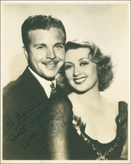 DICK POWELL - AUTOGRAPHED INSCRIBED PHOTOGRAPH CO-SIGNED BY: JOAN BLONDELL