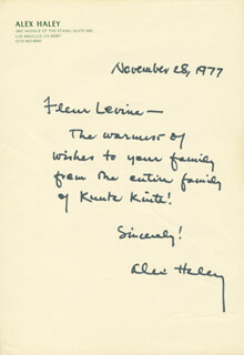 ALEX HALEY - AUTOGRAPH LETTER SIGNED 11/28/1977
