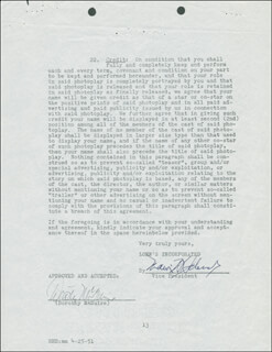 DOROTHY McGUIRE - CONTRACT SIGNED 04/04/1951