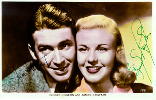 VIVACIOUS LADY - PRINTED PHOTOGRAPH SIGNED IN INK CO-SIGNED BY: JAMES JIMMY STEWART, GINGER ROGERS