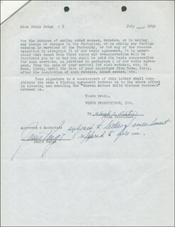 JANIS PAIGE - CONTRACT MULTI-SIGNED 07/09/1949