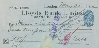 CLIFTON WEBB - AUTOGRAPHED SIGNED CHECK 05/20/1922