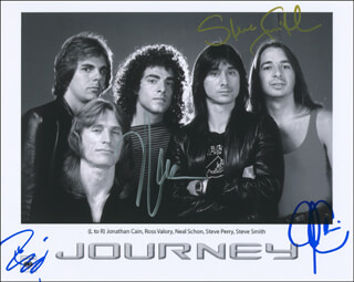 JOURNEY - AUTOGRAPHED SIGNED PHOTOGRAPH CO-SIGNED BY: JOURNEY (JONATHAN CAIN), JOURNEY (STEVE SMITH), JOURNEY (NEAL SCHON), JOURNEY (ROSS VALORY)
