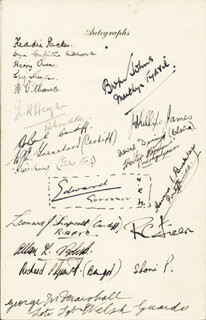 Autographs: KING EDWARD VIII (GREAT BRITAIN) - MENU SIGNED 03/01/1944 CO-SIGNED BY: HOWARD J. BUCKLEY, J. PHILLIPS JAMES, GEORGE M. MARSHALL, HARRY OWEN, FREDDIE PACKER, ALLAN L. ROBERTS, ERIC HUGHES, LEONARD J. SHAPCOTT