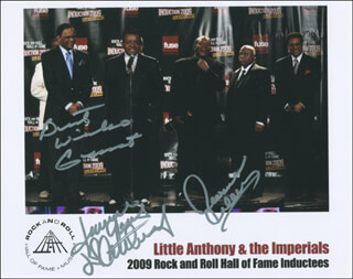 LITTLE ANTHONY AND THE IMPERIALS - AUTOGRAPHED SIGNED PHOTOGRAPH CO-SIGNED BY: LITTLE ANTHONY AND THE IMPERIALS (ANTHONY GOURDINE), LITTLE ANTHONY AND THE IMPERIALS (CLARENCE COLLINS), LITTLE ANTHONY AND THE IMPERIALS (ERNEST WRIGHT)