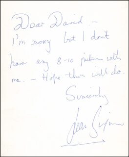 JEAN SIMMONS - AUTOGRAPH NOTE SIGNED