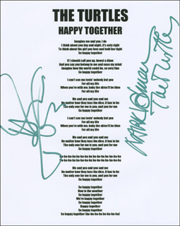 THE TURTLES - TYPED LYRIC(S) SIGNED CO-SIGNED BY: TURTLES, THE (MARK VOLMAN), THE TURTLES (HOWARD KAYLAN)