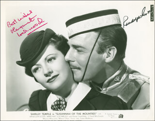 SUSANNAH OF THE MOUNTIES MOVIE CAST - PRINTED PHOTOGRAPH SIGNED IN INK CO-SIGNED BY: RANDOLPH SCOTT, MARGARET LOCKWOOD