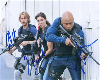 Autographs: NCIS: LOS ANGELES TV CAST - PHOTOGRAPH SIGNED CO-SIGNED BY: LL COOL J , DANIELA RUAH, ERIC CHRISTIAN OLSEN